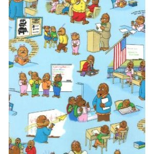 Berenstain Bears Bear Country School Fabric - Classroom Scenes - Sky (55511 13)