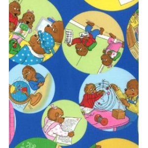 Berenstain Bears Bear Country School Fabric - School Bubbles - Royal (55512 16)