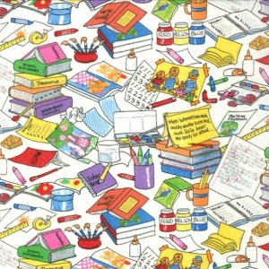 Berenstain Bears Bear Country School Fabric - Messy Desk - White (55513 11)
