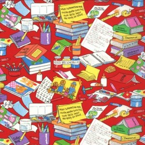 Berenstain Bears Bear Country School Fabric - Messy Desk - Red (55513 12)
