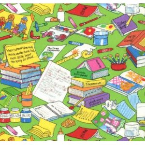 Berenstain Bears Bear Country School Fabric - Messy Desk - Lime (55513 15)
