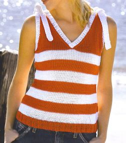 Tahki Cotton Classic Sleeveless Striped V-Neck Kit - Women's Sleeveless