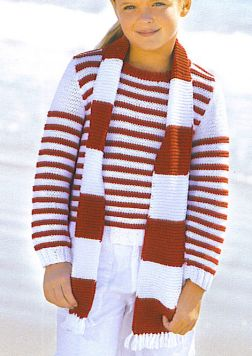 Tahki Cotton Classic Girl's Striped Crewneck with Scarf Kit - Baby and Kids Pullovers