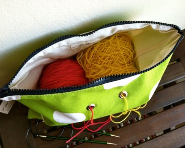 Top Shelf Totes Yarn Pop - Double - Bright Green Polka-dots