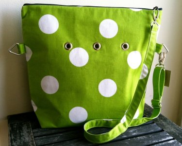 Top Shelf Totes Yarn Pop - Totable - Bright Green Polka-dots