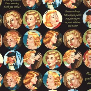Nancy Drew Get a Clue With Nancy Drew Fabric - Nancy Drew Dot - Black Shadow (1341 15)