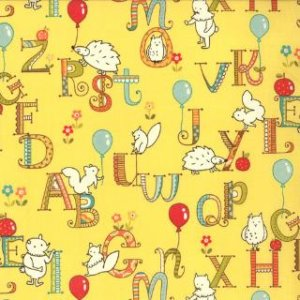 Keiki Mind Your Ps & Qs Fabric - ABC Critters - Sunshine (32712 17)