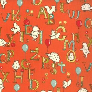 Keiki Mind Your Ps & Qs Fabric - ABC Critters - Tangerine (32712 15)