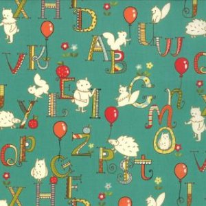 Keiki Mind Your Ps & Qs Fabric - ABC Critters - Teal (32712 14)