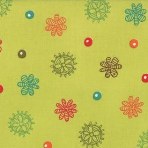 Keiki Mind Your Ps & Qs Fabric - Dots and Daisies - Chartreuse (32713 12)