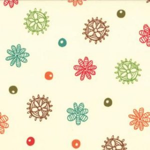 Keiki Mind Your Ps & Qs Fabric - Dots and Daisies - Cream (32713 18)