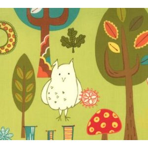 Keiki Mind Your Ps & Qs Fabric - Forest Critters - Chartreuse (32710 12)