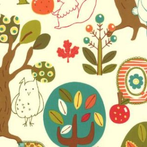 Keiki Mind Your Ps & Qs Fabric - Forest Critters - Cream (32710 18)