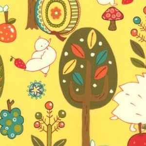 Keiki Mind Your Ps & Qs Fabric - Forest Critters - Sunshine (32710 17)