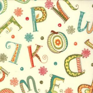 Keiki Mind Your Ps & Qs Fabric - Whimsy Letters - Cream (32711 18)