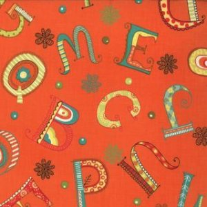 Keiki Mind Your Ps & Qs Fabric - Whimsy Letters - Tangerine (32711 15)