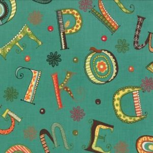 Keiki Mind Your Ps & Qs Fabric - Whimsy Letters - Teal (32711 14)