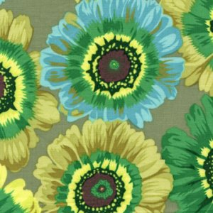 Philip Jacobs Painted Daisies Fabric - Green