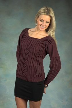 Plymouth Yarn Sweater & Pullover Patterns - 2365 DK Merino Superwash Cable Lace Pullover Pattern