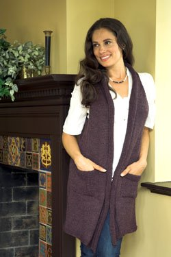 Plymouth Adult Vest Patterns - 2460 Galway Long Raglan Vest Pattern