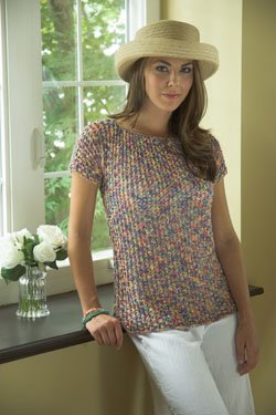Plymouth Yarn Women's Top & Tank Patterns - 2496 Colorando Mesh Short Sleeve Top Pattern