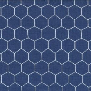 Jenn Ski Oink-A-Doodle-Moo Fabric - Chicken Wire - Denim (30527 17)