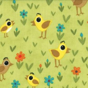Jenn Ski Oink-A-Doodle-Moo Fabric - Chicks and Daisies - Leaf (30525 14)