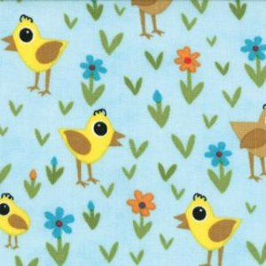Jenn Ski Oink-A-Doodle-Moo Fabric - Chicks and Daisies - Sky (30525 15)