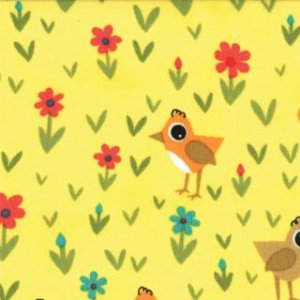 Jenn Ski Oink-A-Doodle-Moo Fabric - Chicks and Daisies - Sunshine (30525 19)