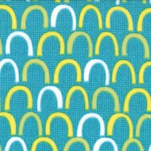 Jenn Ski Oink-A-Doodle-Moo Fabric - Rolling Hills - Turquoise (30526 16)