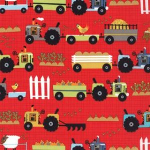 Jenn Ski Oink-A-Doodle-Moo Fabric - Tractor Garden - Barn Red (30523 12)