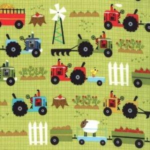 Jenn Ski Oink-A-Doodle-Moo Fabric - Tractor Garden - Leaf (30523 14