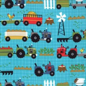 Jenn Ski Oink-A-Doodle-Moo Fabric - Tractor Garden - Turquoise (30523 16)