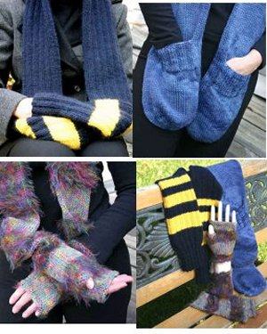 Knitting at Knoon Patterns - Handwarmer Scarves Pattern
