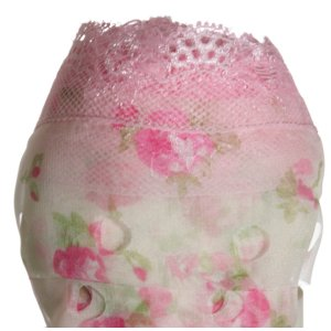 Circulo Tecido Rendado Trico Yarn - 2805 Pink Flowers on White with Pink Lace