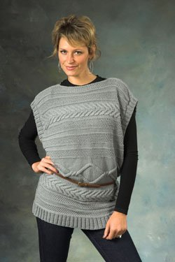 Plymouth Adult Vest Patterns - 2352 Worsted Merino Superwash Cabled Pullover Pattern