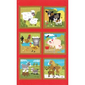 Jenn Ski Oink-A-Doodle-Moo Panel Fabric - Barn Red (30520 11)