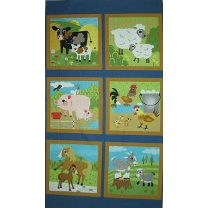 Jenn Ski Oink-A-Doodle-Moo Panel Fabric - Denim (30520 14)