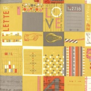 Julie Comstock 2wenty Thr3e Fabric - Love Letters  - Mustard (37050 14)