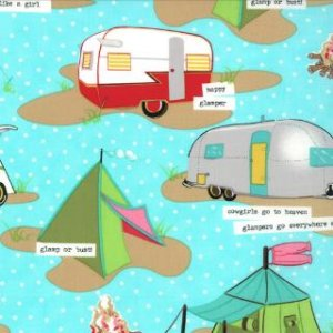 Mary Jane Glamping Fabric - Tents & Trailers - Blue Moon (11601 14)