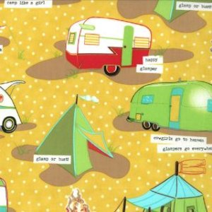 Mary Jane Glamping Fabric - Tents & Trailers - Honey Bee (11601 16)