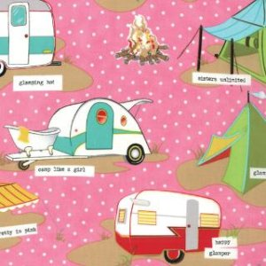 Mary Jane Glamping Fabric - Tents & Trailers - Shasta Pink (11601 12)