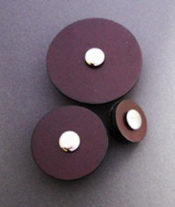 Jul Leather Pedestal Buttons - Chocolate - Large 2""