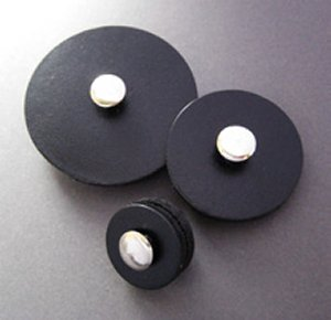 Jul Leather Pedestal Buttons - Black - Medium 1.5""