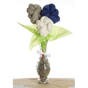 Jimmy Beans Wool Yarn Bouquets - Malabrigo Uno Dos Tres Bouquet - Indigo/Grey