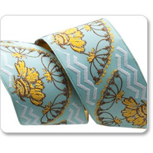 Renaissance Ribbons Anna Maria Horner Ribbon Fabric - Yarrow Flower - Blue - 1-1/2""
