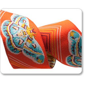 Renaissance Ribbons Anna Maria Horner Ribbon Fabric - Moths - Orange - 1-1/2""