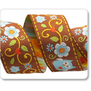 Renaissance Ribbons Dena Designs Ribbon Fabric - Happi Owls - Blue - 7/8""
