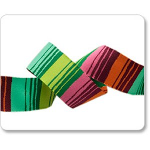 Renaissance Ribbons Kaffe Fassett Ribbon Fabric - Phase Stripes - Green and Orange - 7/8""