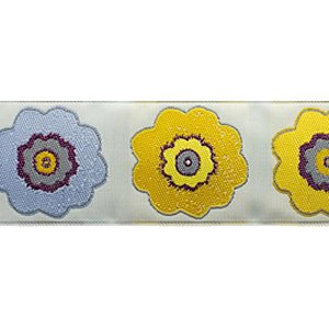 Renaissance Ribbons Laura Foster Nicholson Ribbon Fabric - Primrose - Purple and Mustard - 1-1/2""